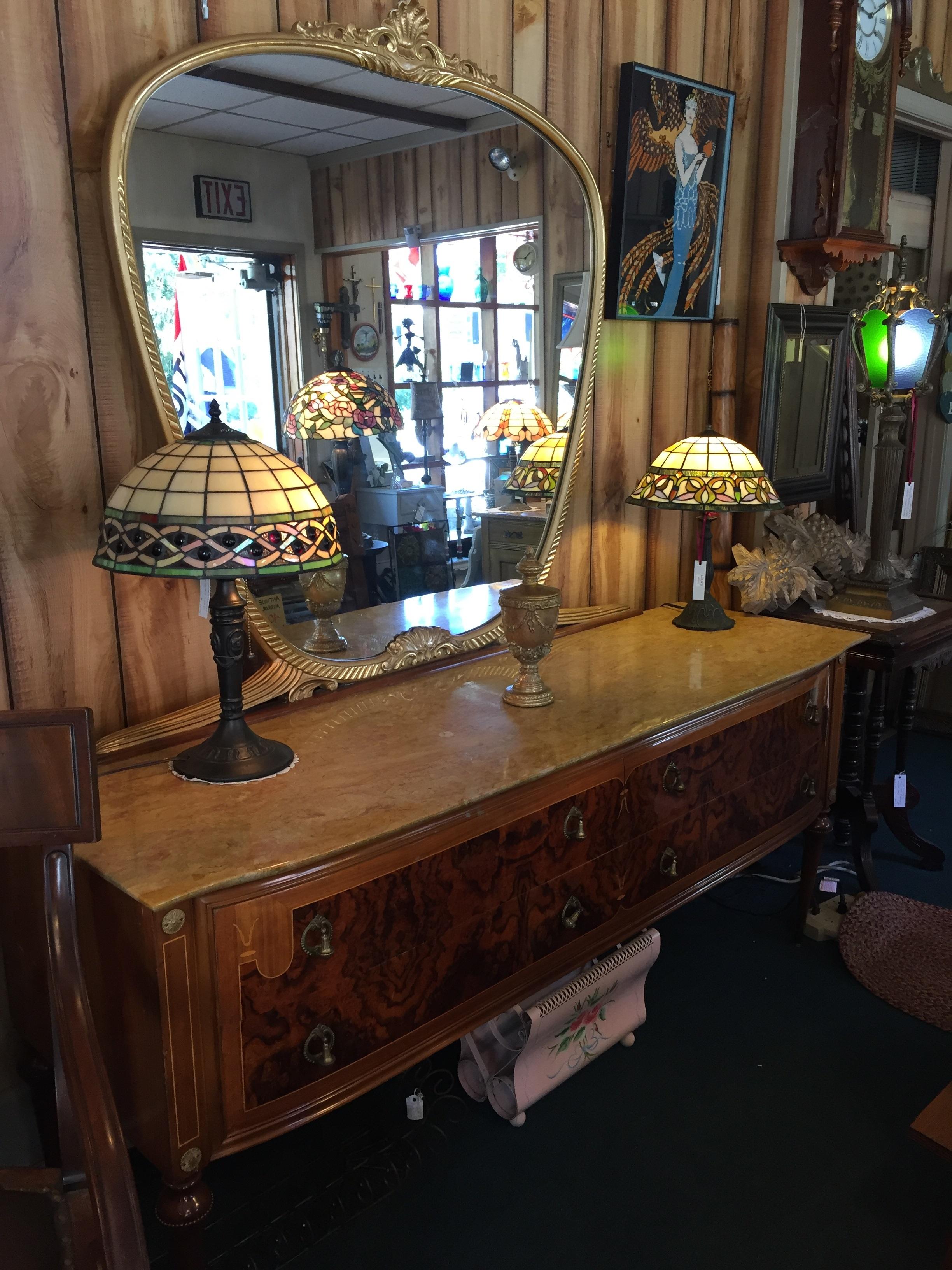 SALE! Elegant Inlaid Wood Marble Top Antique Dresser