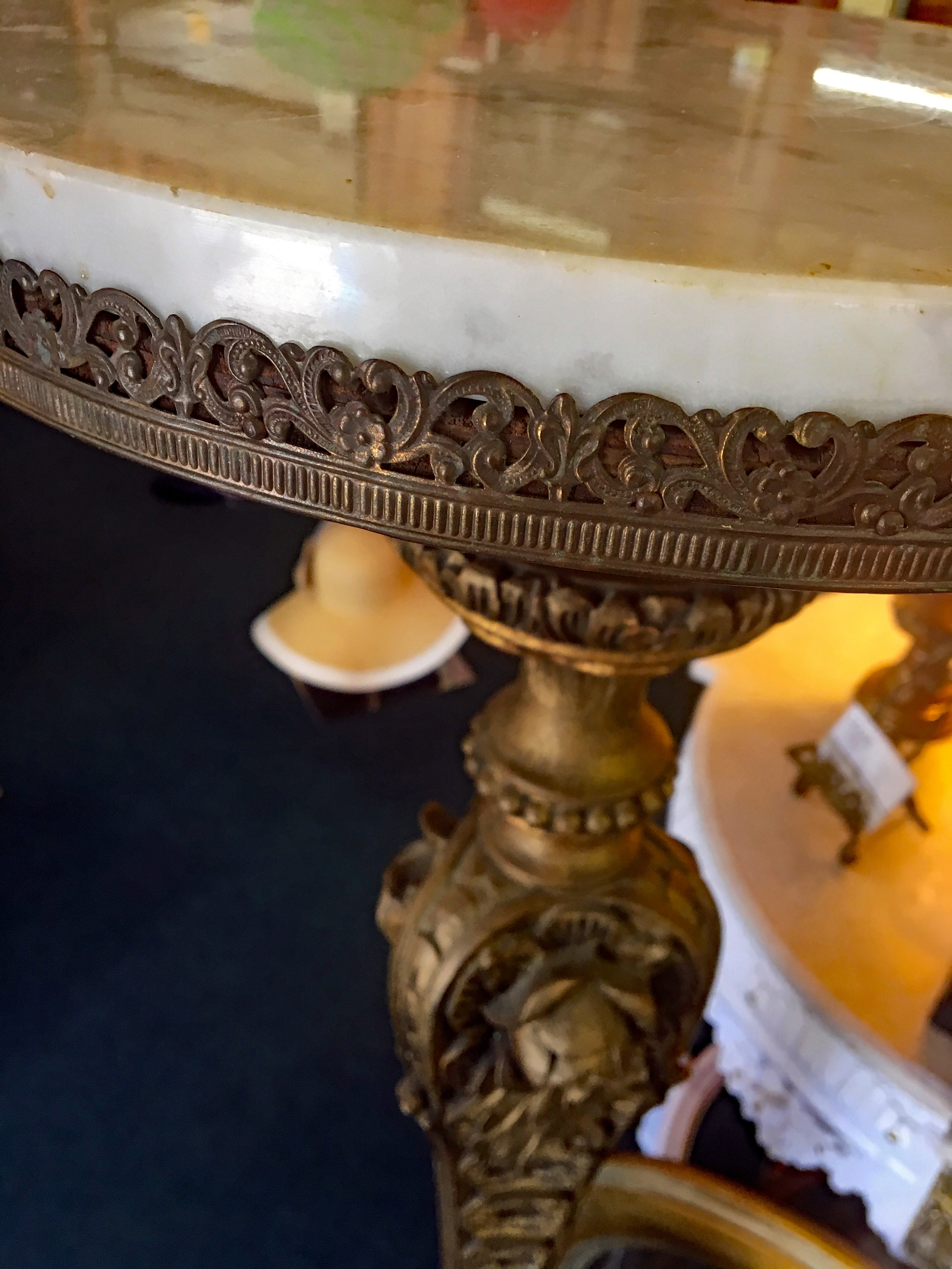 Tall Marble Table with Brass Filigree