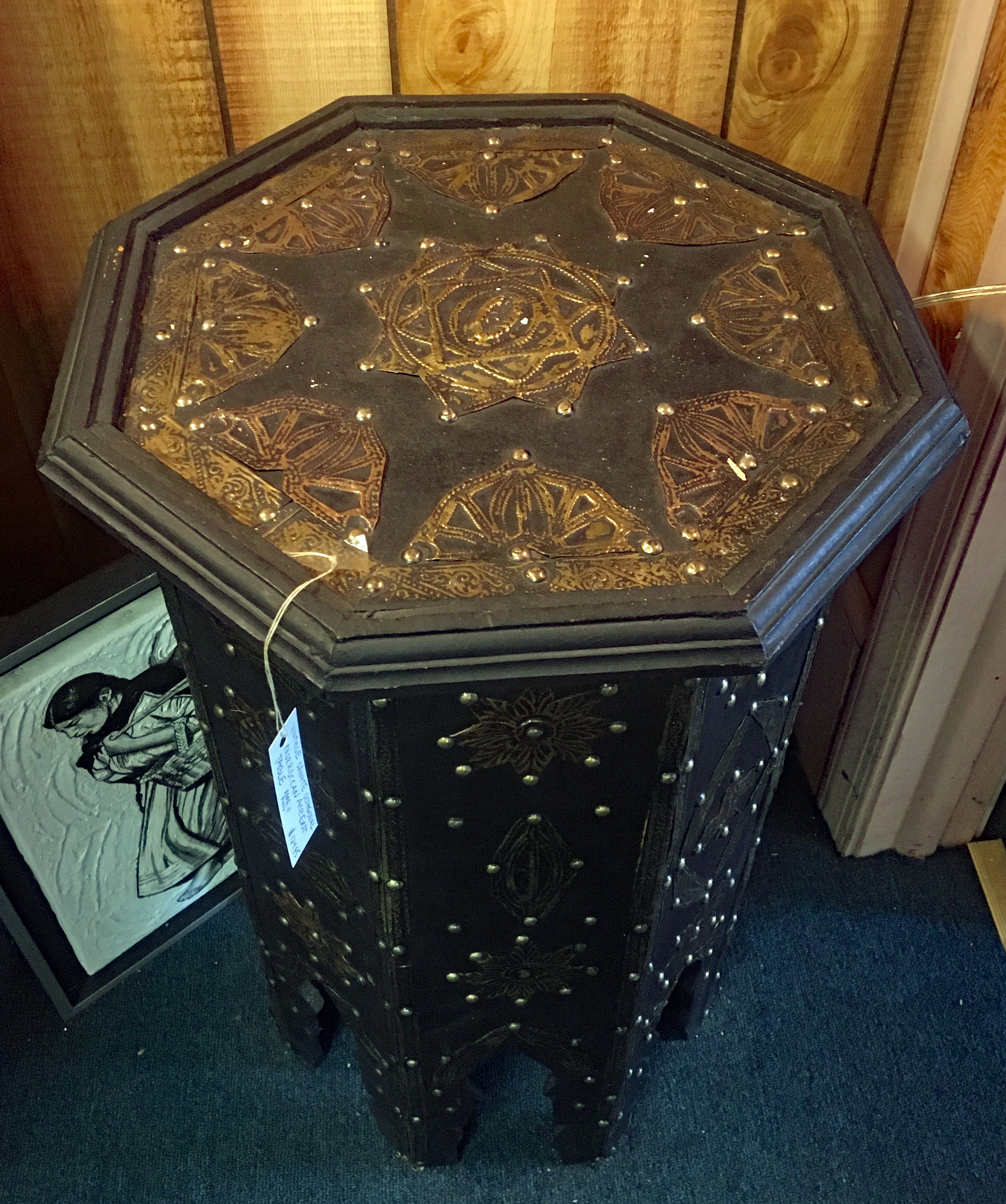 Vintage Ornate Moroccan Octagonal Accent Table