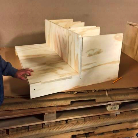Unfinished plywood step