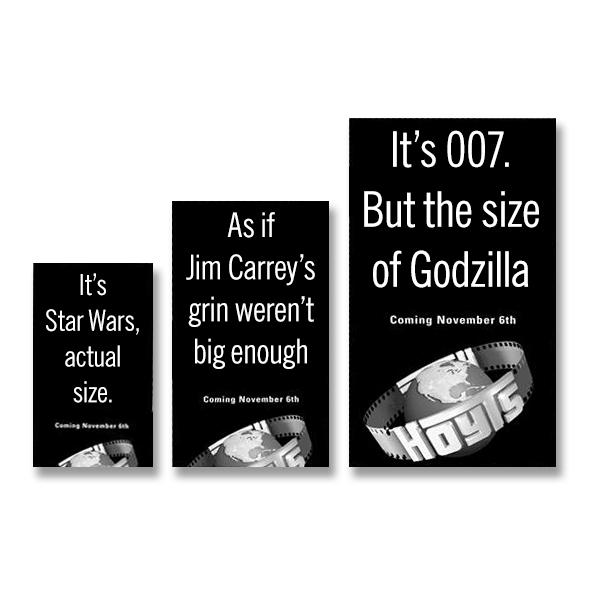 black & white promotional teaser ads