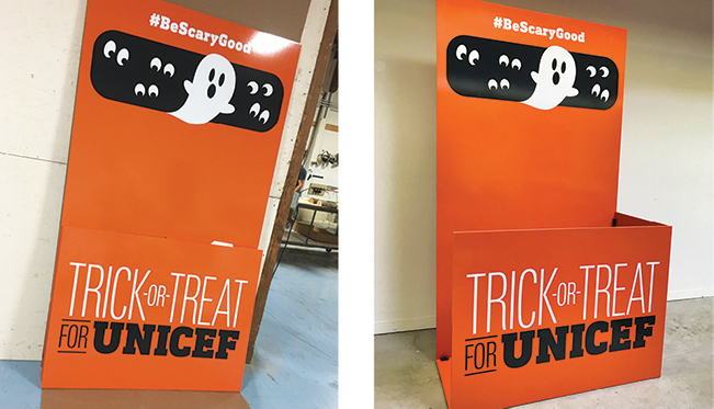 The enlarged photo booth was built to the same specifications and configurations as the UNICEF's iconic hand-held coin collection box. The finished piece was designed to stand up to hundreds of visitors safely while breaking down for efficient long-distance shipping and eventual storage.