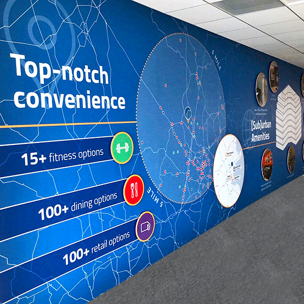 Floor to ceiling wall graphics  (above and right)