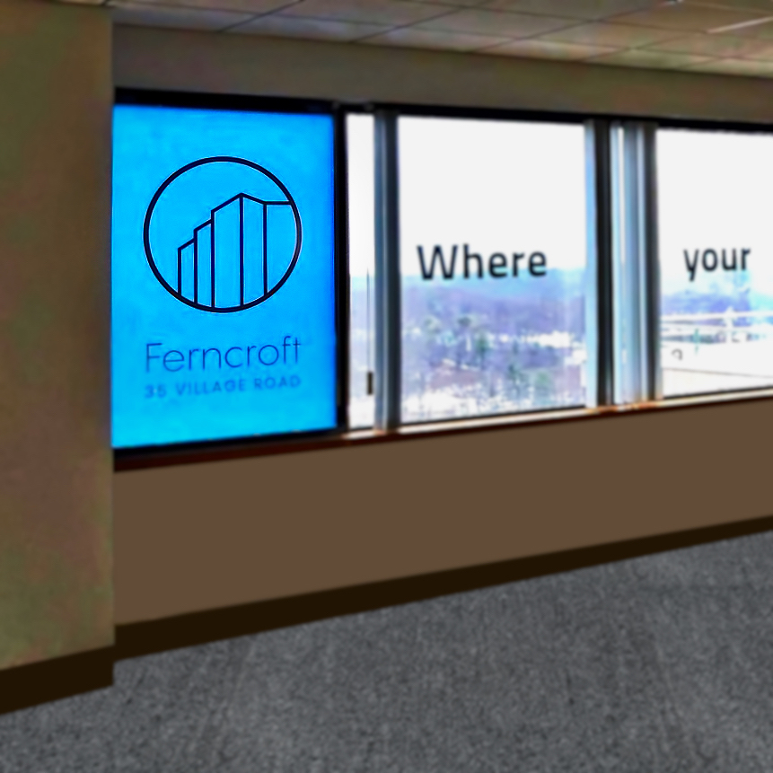 To highlight the location and scenic views, window graphics were applied  (above and right)