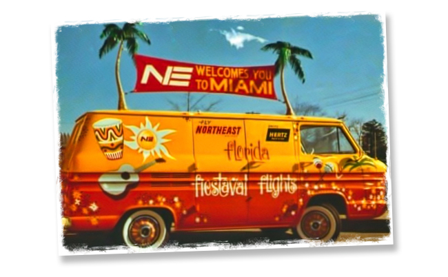"Van circa 1963 promoting ""Fiestaval Flights"" by Northeast Airlines"