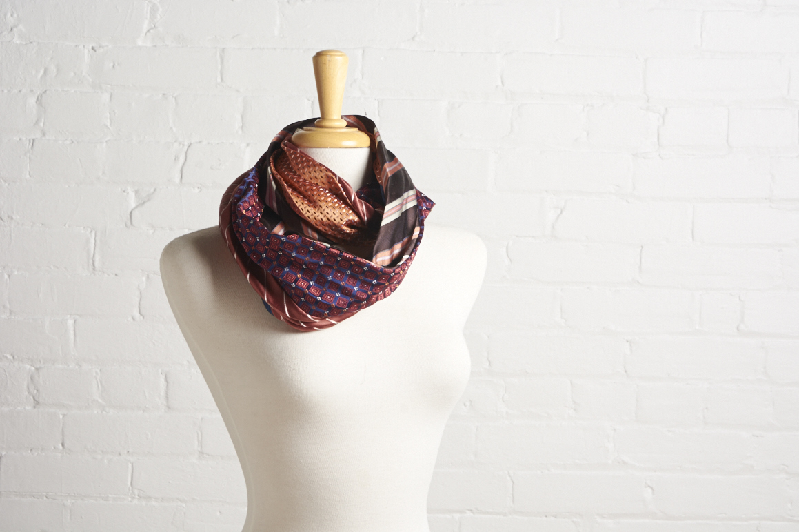 Silk scarf in orange, brown and blue