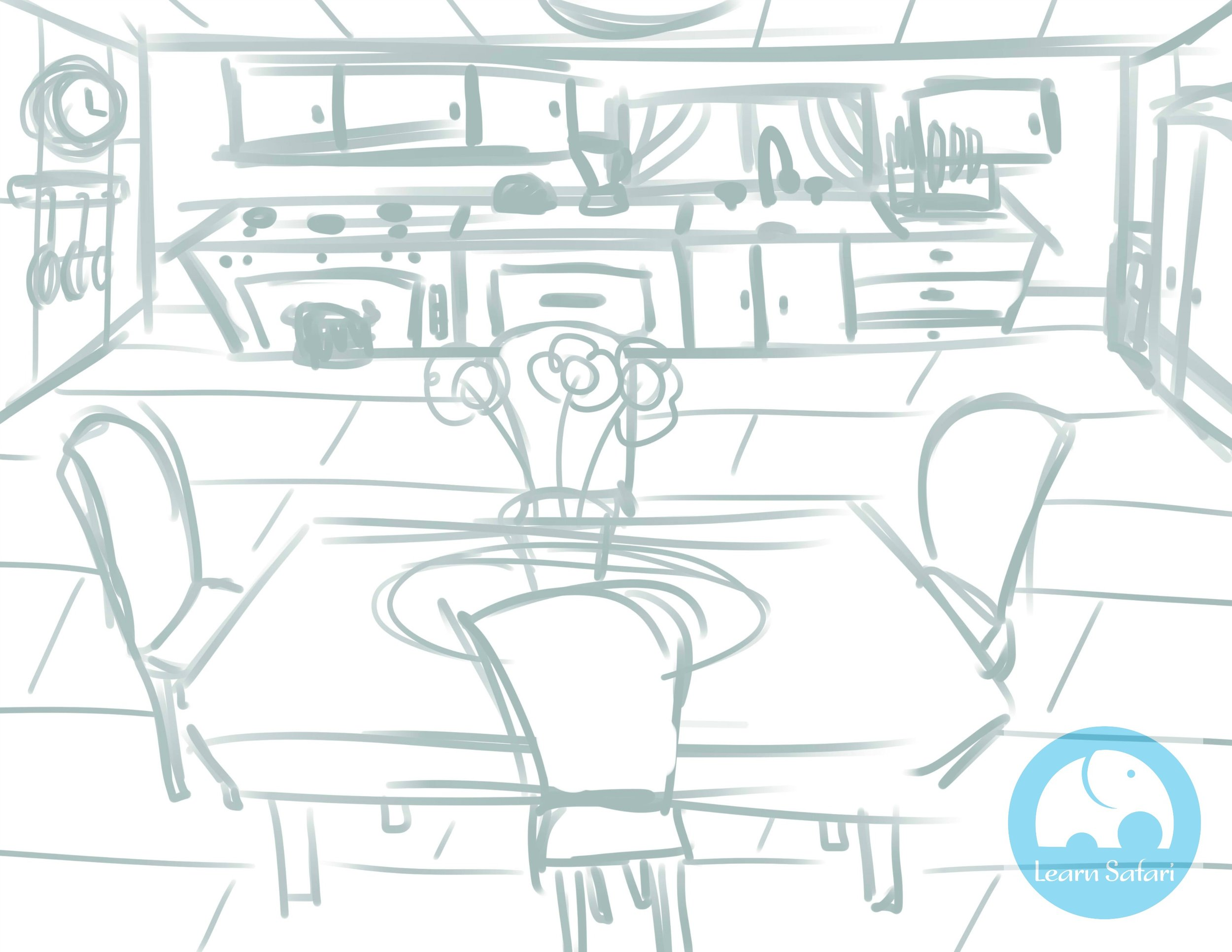 The Initial Sketch for the Spanish Safari Kitchen