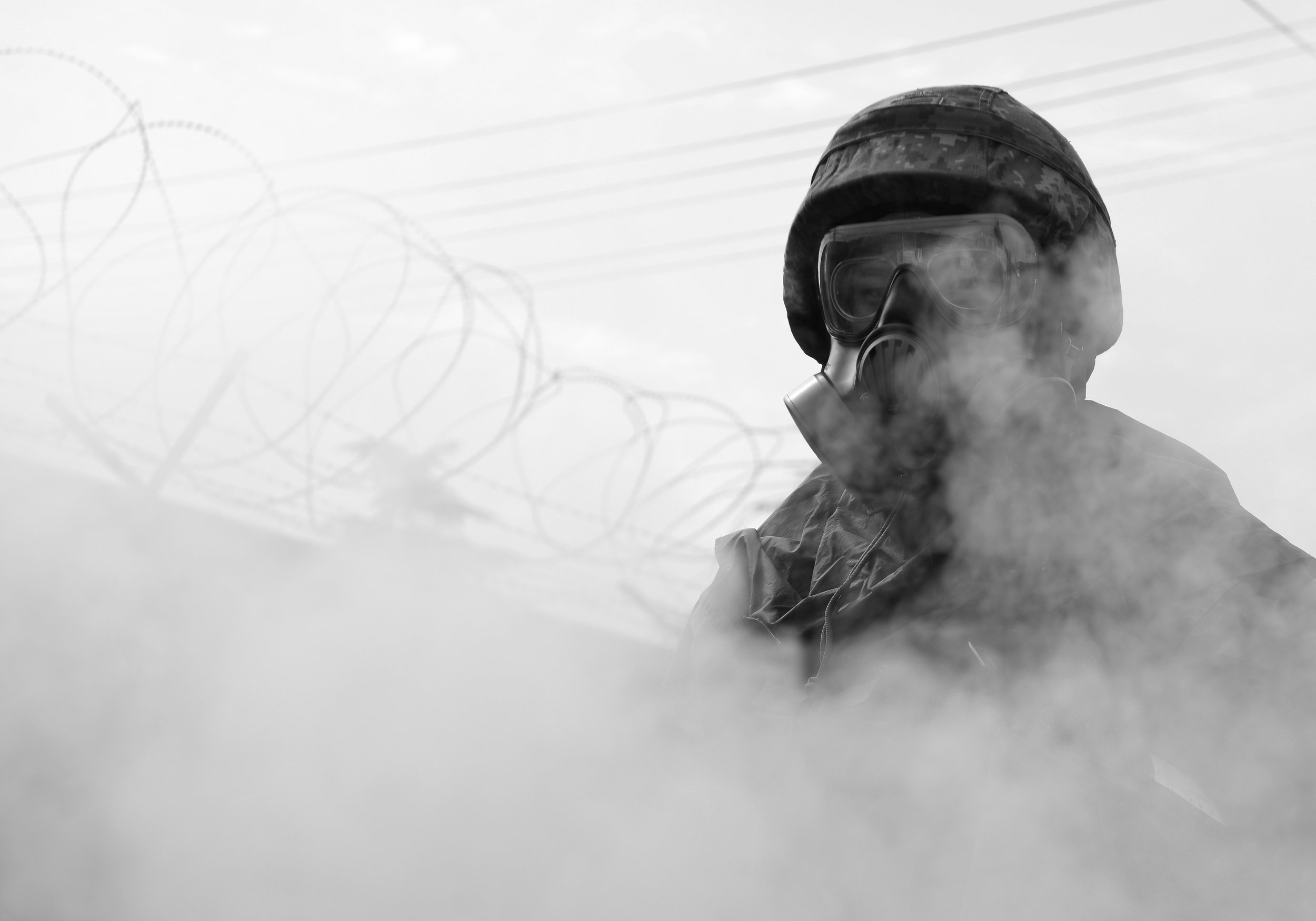 A Republic of Korea Airman assists with decontamination operations during the ROK/U.S. Combined Chemical, Biological, Radiological, and Nuclear Field Training Exercise at Daegu Air Base, South Korea, April 20, 2017. (Staff Sgt. Alex Echols)