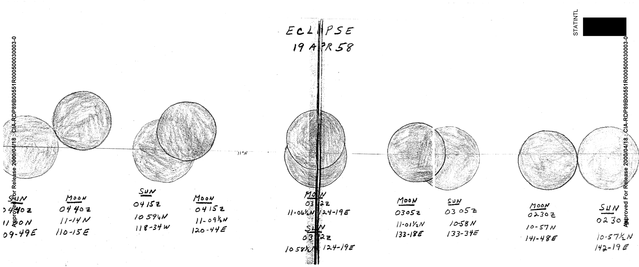 A drawing of an April 1958 eclipse found in declassified CIA files. (CIA.gov)
