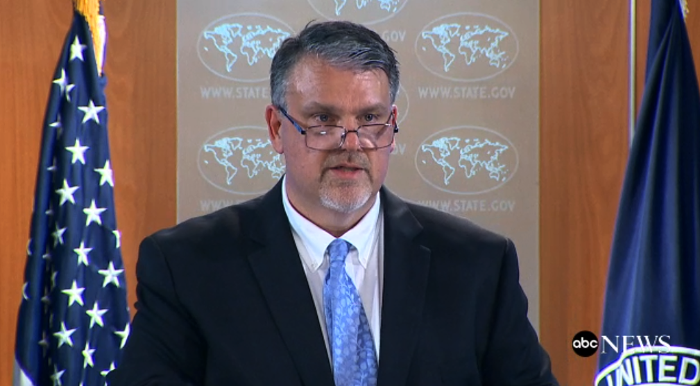 National Counterterrorism Center Director Nicholas J. Rasmussen addresses reporters at a State Department briefing on the Lebanese militant group Hezbollah. Oct. 10, 2017.