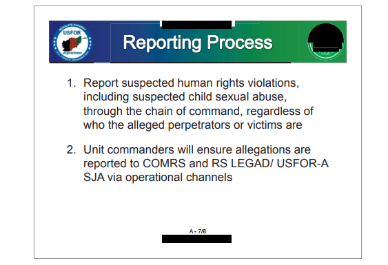 A slide from a 2015 training presentation with regard to purported child sex abuse. (Credit: DOD IG)