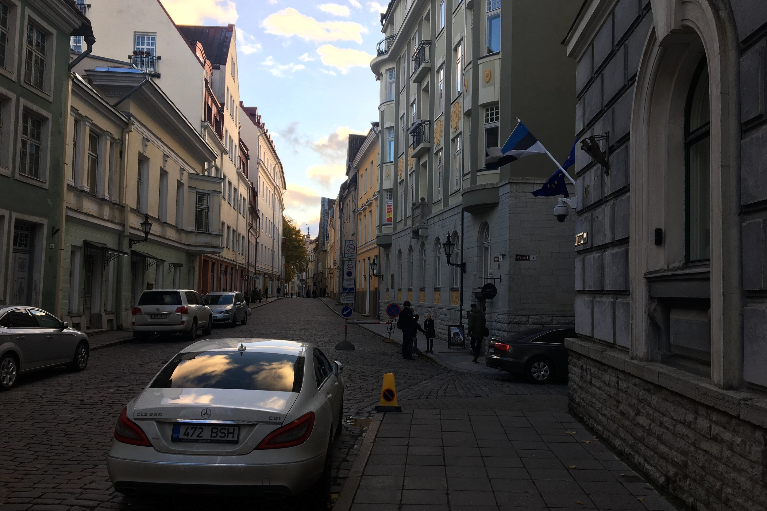 The cozy, cobblestone street on which the former KGB prison lies. It's on the right corner, on the far side of the first intersection. (Credit: Lee Ferran)
