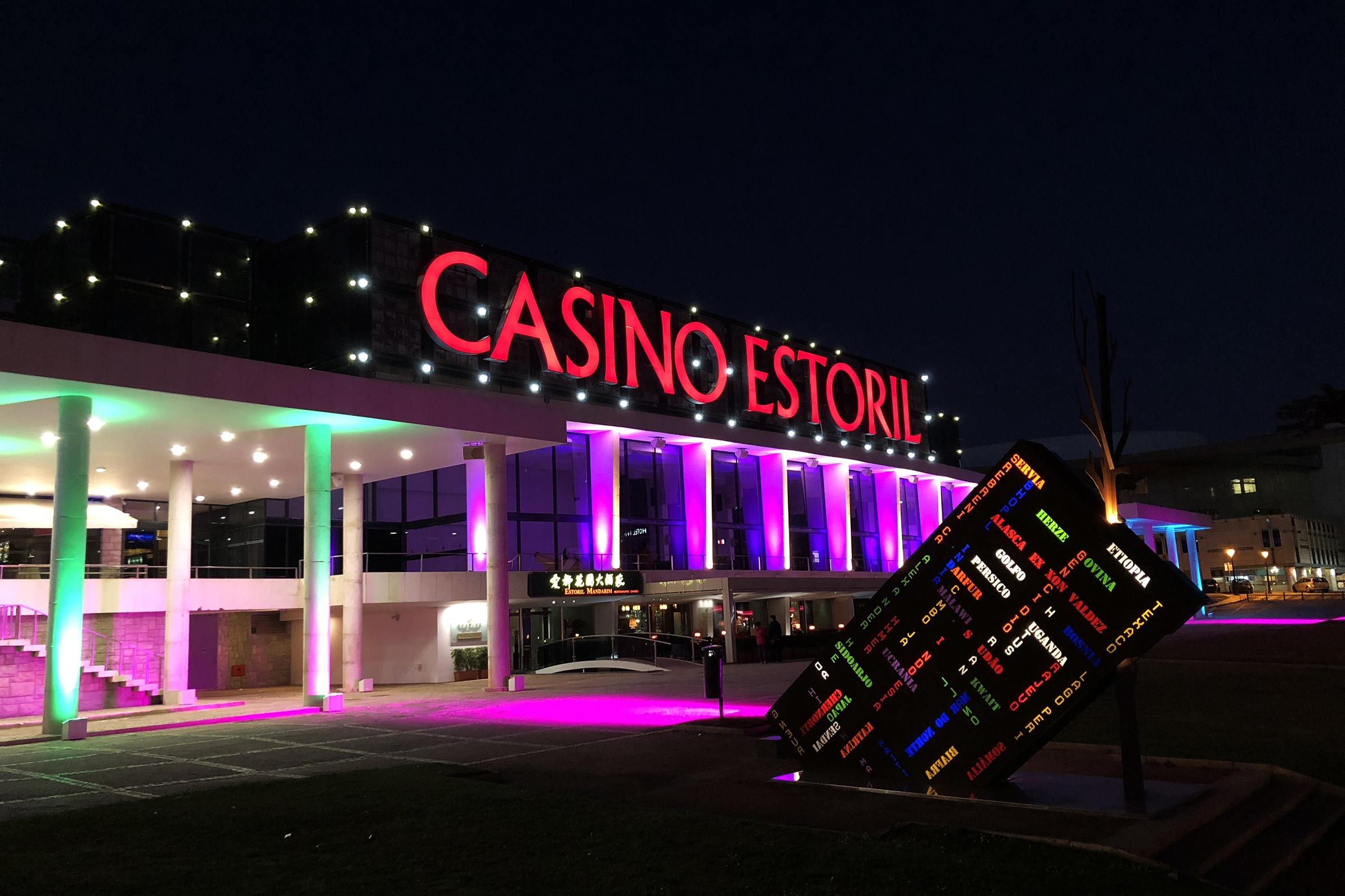 (Casino Estoril at night, Feb. 21, 2018. Photo credit: Lee Ferran)