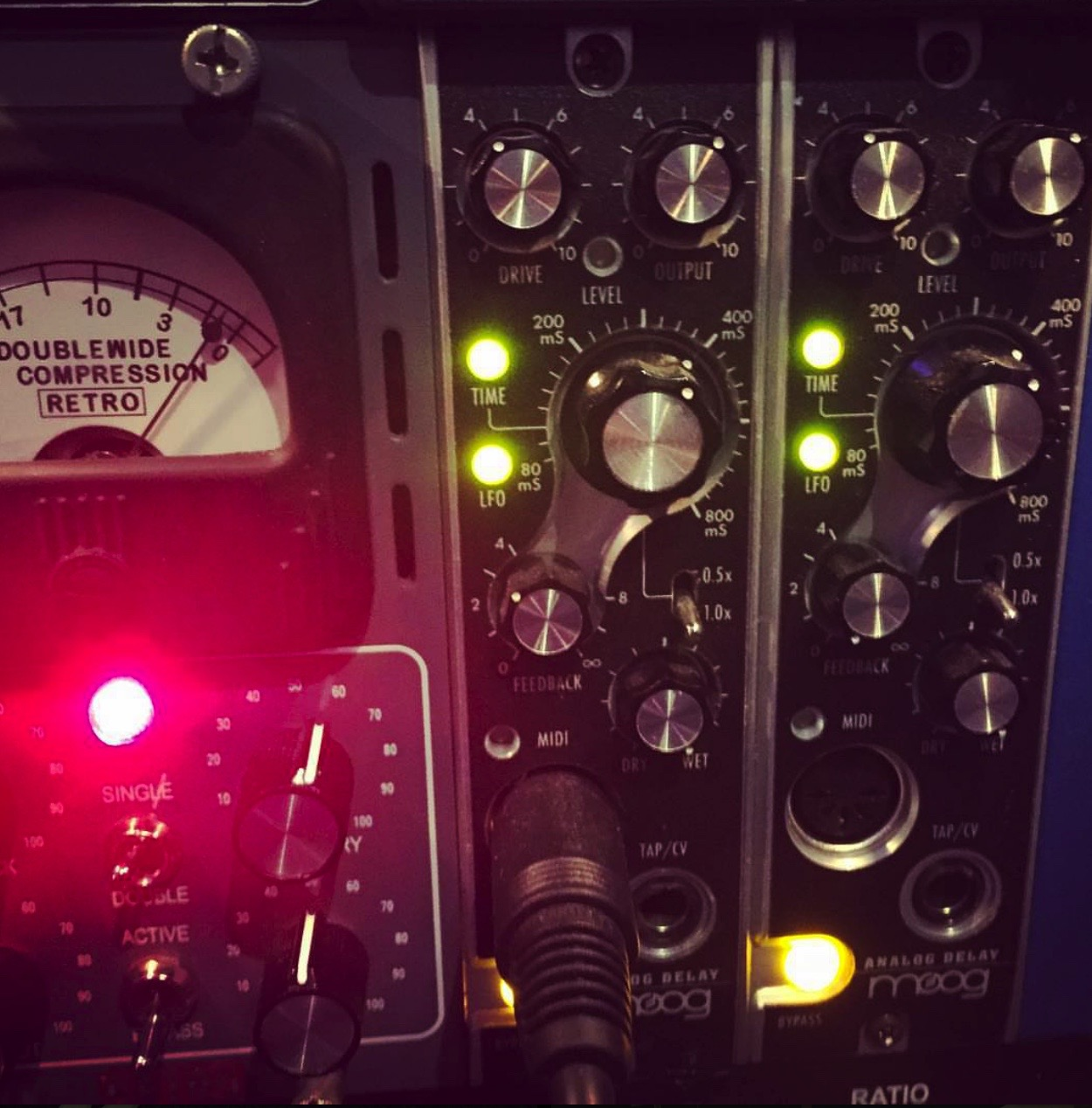 Effects & Other Processors - (1) Amtec LLI-5A (Pedal Interface)(1) Amtec DST-5A Harmonic Saturation(2) BBE Sonic Maximizer(2) Lexicon PCM-60(8) Little Labs RedCloud Attenuator(2) Moog 500 Analog Delay(1) Radial TankDriver(2) RND 542 Tape Emulator(1)    Benson Amps Studio Tall Bird Stereo Reverb(X)Various Spring Reverbs