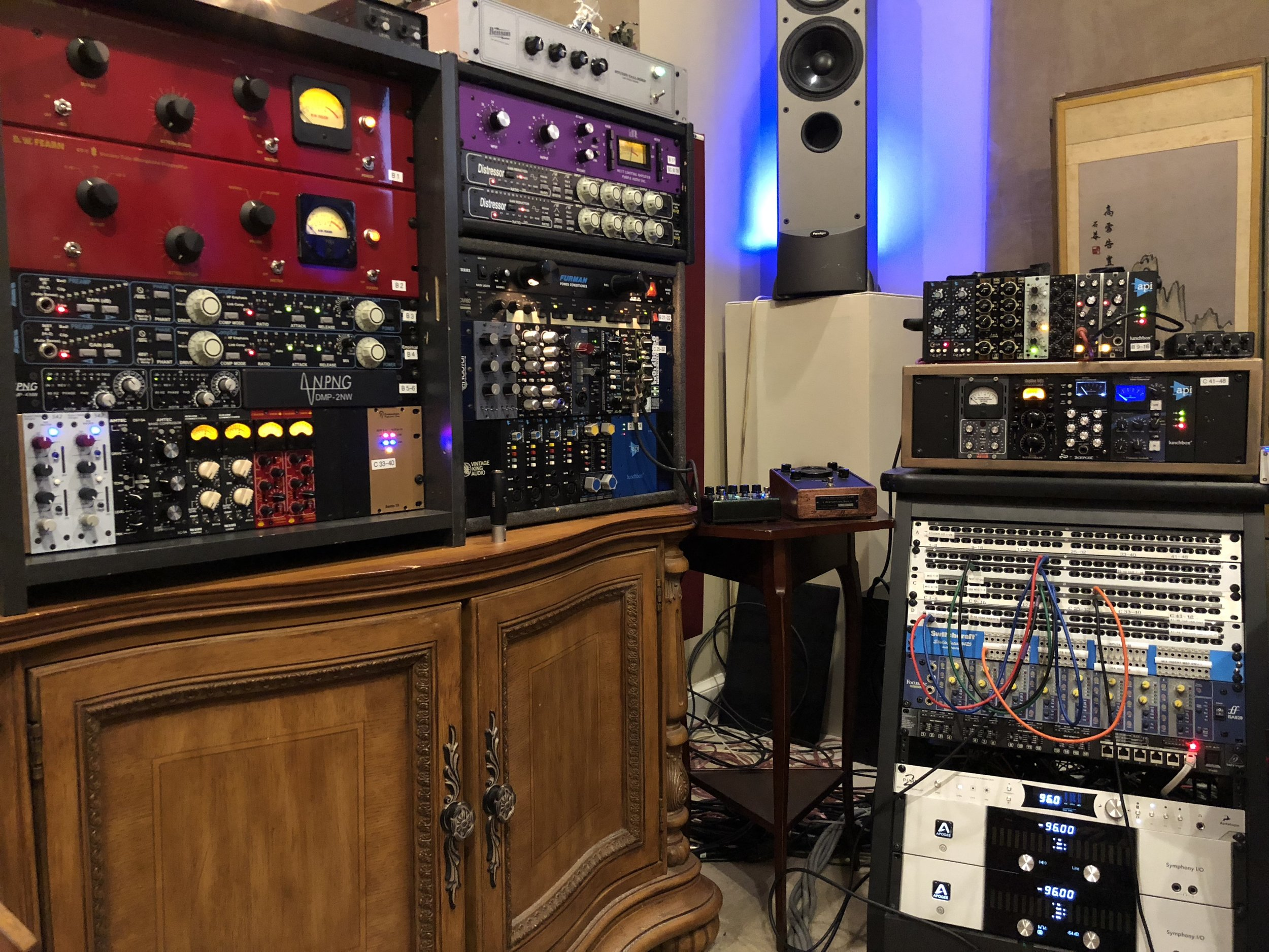 Mic Preamps & D.I. - (2)        AEA RPQ(3)        API 512c(1)        Avalon VT-737sp(1)        Blue Robbie(1)        Chandler Ltd. Little Devil(2)        D.W. Fearn VT-1(2)        Empirical Labes EL-9 Mike-E(8)        Focusrite ISA(1)        Grace m501(1)        Neve 1073LB(2)        NPNG DMP-2NW(2)        Rascal Audio Two-V(1)        Rupert Neve Designs 511       (2)        Cloudlifter CL-2 (Line Booster)(1)        Custom Reamp Unit w/St. Ives             Transformer(2)        NPNG Diehlio D.I.(2)        Radial D.I. (Active)(1)        Radial ProRMP Reamp Unit(2)        Triton Audio FetHead (Line Booster)