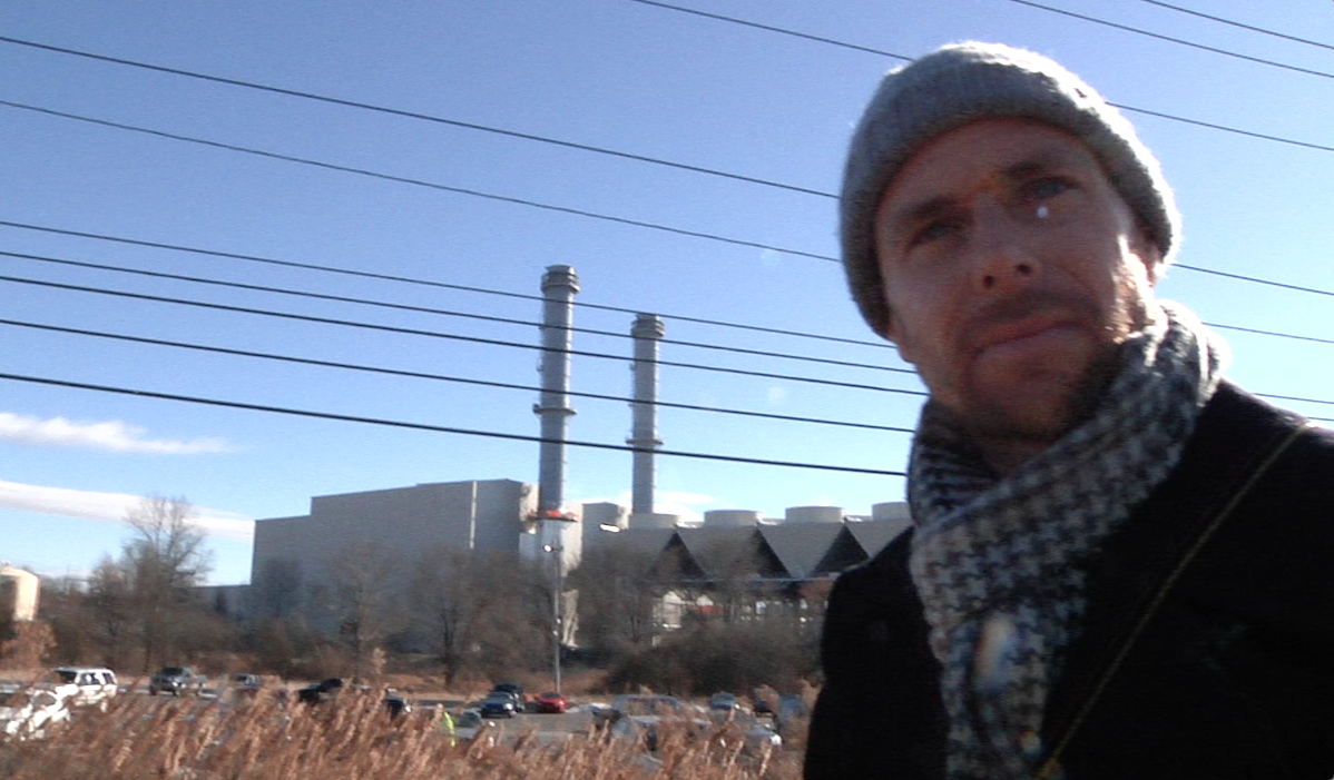 Scott Martens at the weekly picket at the CPV fracked gas power plant.
