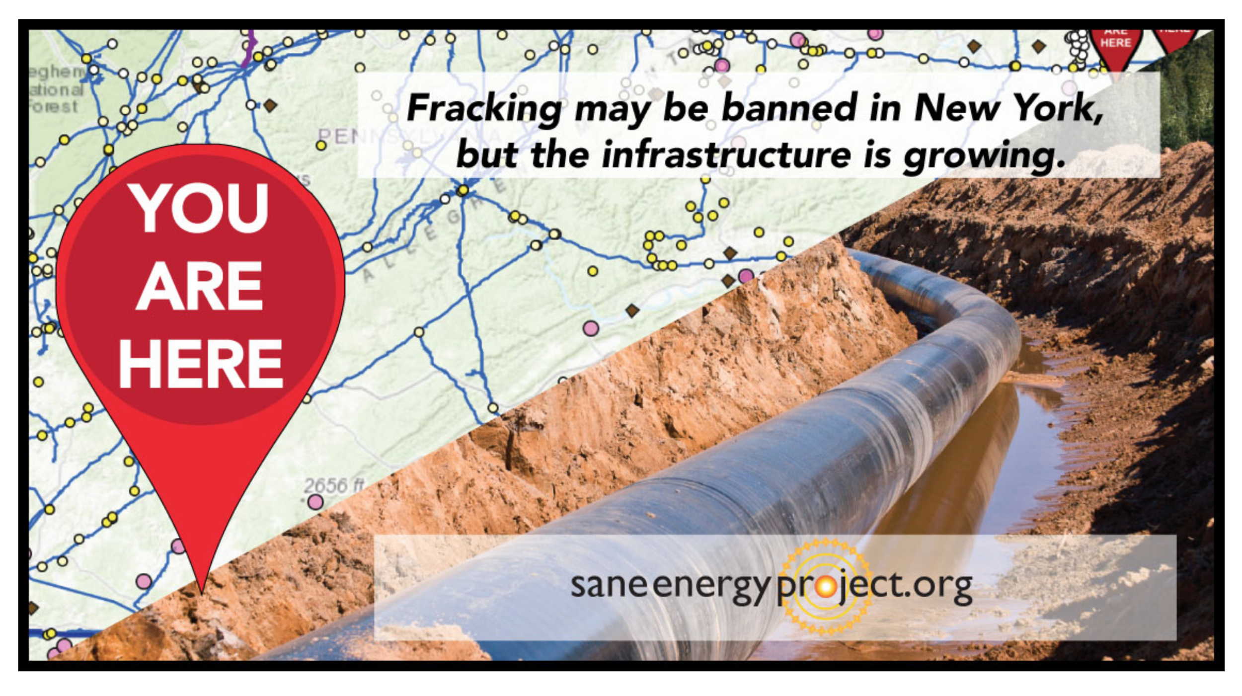 You are Here Map - Our interactive map shows you each and every pipeline criss-crossing NY State, and connects you to the communities fighting them.