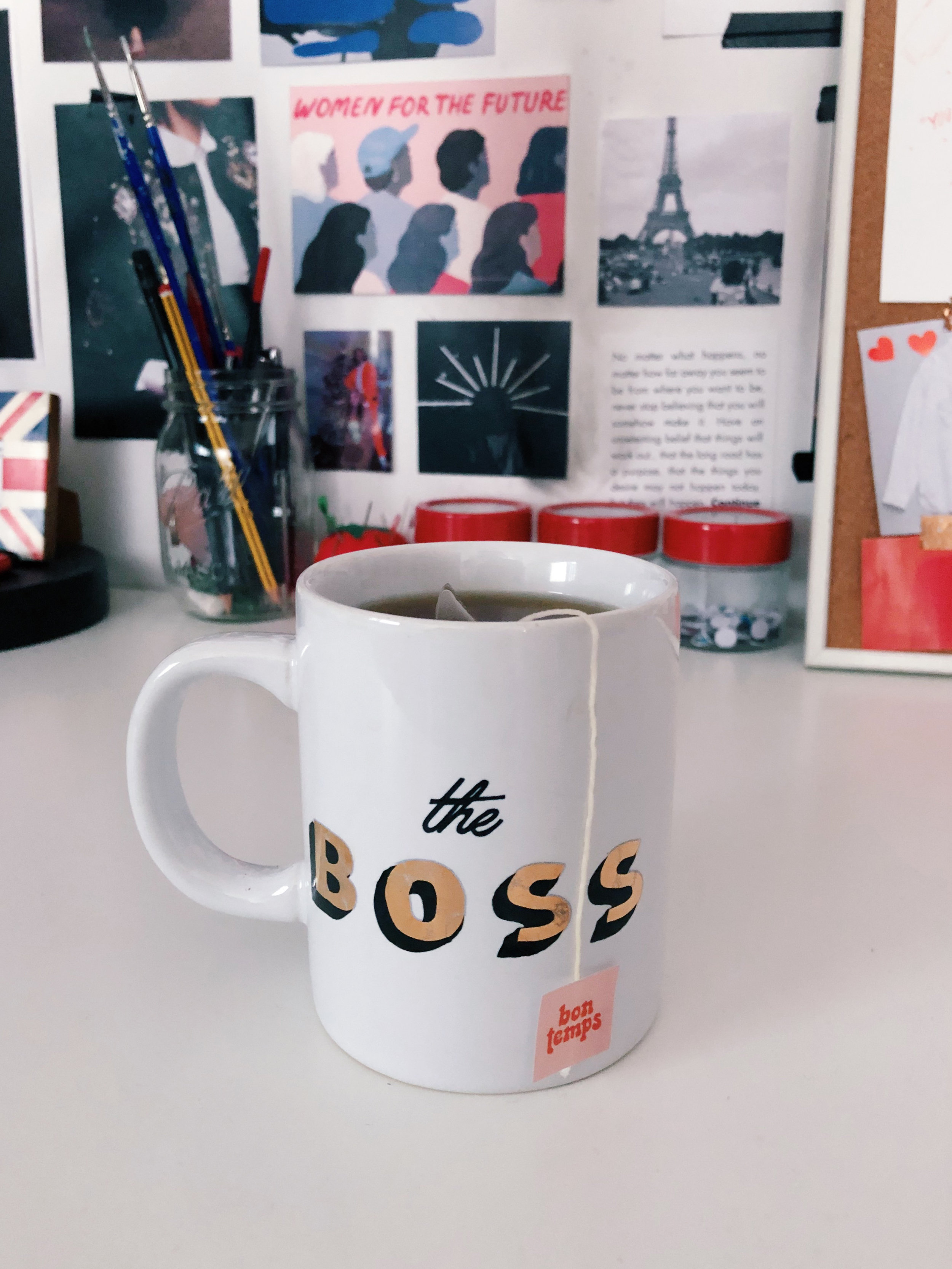 Taking a moment and reminding myself that I am the boss. Only person I need to report to is the man upstairs. (Mug by Ban.do and tea by  Bon Temps )