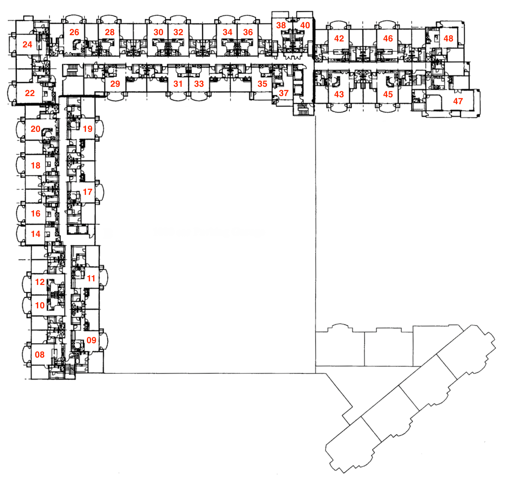 South / West Tower Typical Layout (Floors 1 - 15)