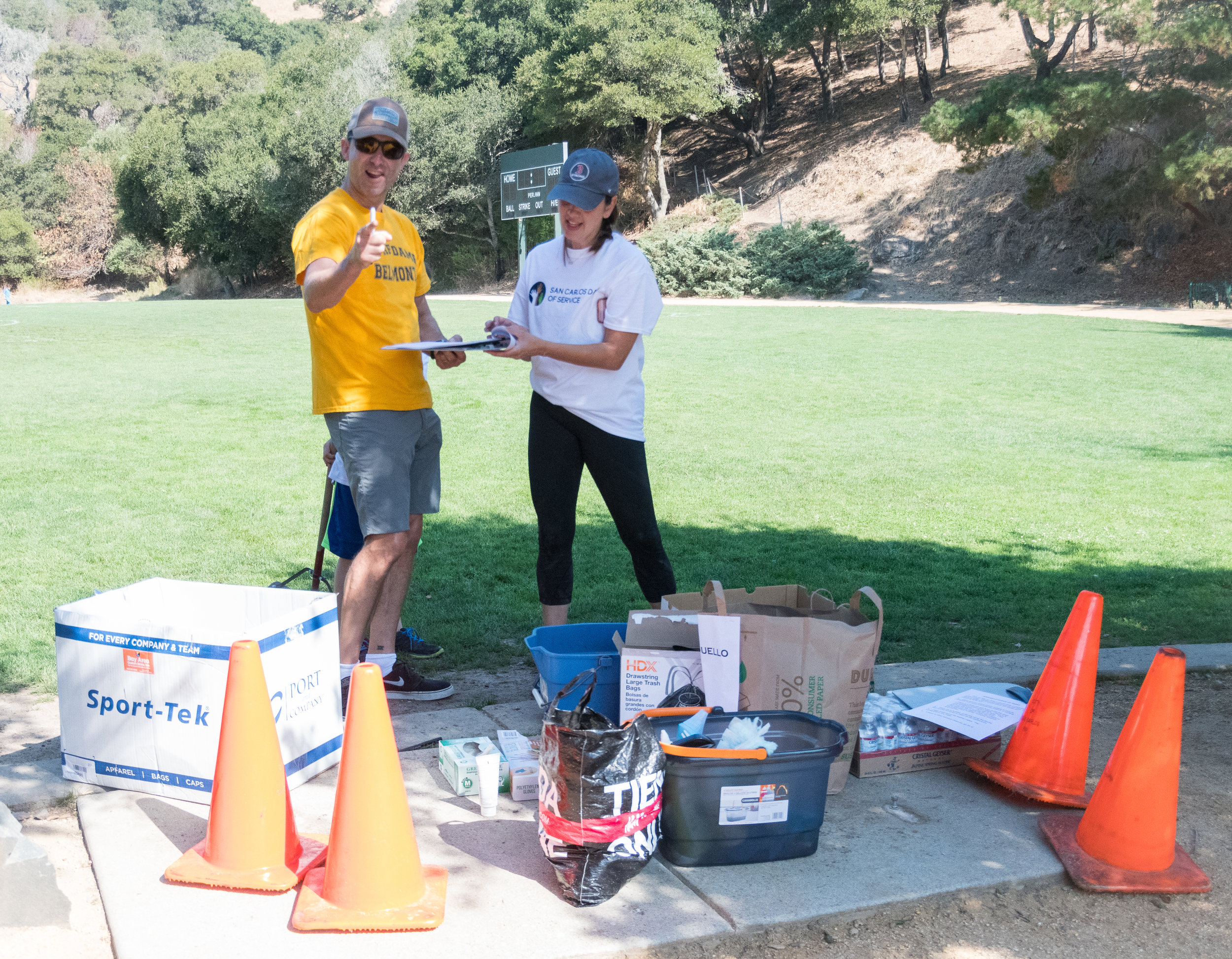 Signing waivers at Arguello Park