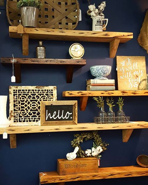 "In store display featuring awesome floating shelves and decor from ""Carter House Primitives"", ""Reclaim Essentials"", ""Three French Hens"" and ""Because Nice Matters""."