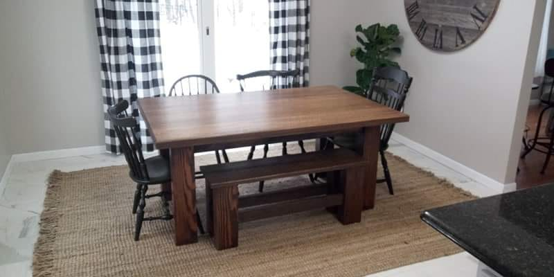 Rustic dining table designed and built by Craig.
