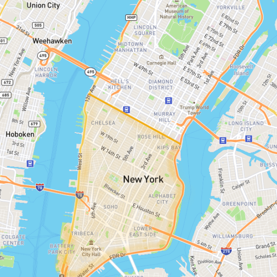 About the area - Downtown New York lies south of 14th Street and covers the whole south tip of Manhattan all the way to both rivers. Many people consider Chelsea, Flatiron and Gramercy as part of this area, so if we take those neighborhoods into consideration, then we can say that it starts around the 30's. We will use that for our website purposes.1. Chelsea neighborhood is the area on west, between W 30th and W 14th Streets. It is home of many art galeries, great dining and nightlife.2. Gramercy Park neighborhood is the area on the east, between E 23rd and E 14th Streets, with its west border on Park Avenue. A quieter area still close to the action.3. Flatiron neighborhood lies between Chelsea and Gramercy around 5th, Madison and Park Avenues. The well preserved old architecture gives this area a historic and pictoresque charm.4. Union Square is the area around the Union Square Park, where everything can be found in this small area: Theater, department stores, Whole Foods supermarket, as well as several restaurants and bars.5. Greenwhich Village is located west of Broadway, between 14th and Houston Streets; it western portion is referred as the West Village, distinguished by its off grid streets and old town charm.6. The East Village is the area east of the Greenwich Village. A more bohemian neighborhood that preserves a more laid-back attitude, surrounded by unique small restaurants and bars.7. Soho is located between Houston and Canal Streets, west of Broadway. Distinguished by its cobblestone streets and spacious cool lofts.8. Nolita (North of Little Italy) corresponds to a small area east of Soho. Very trendy neighborhood! Combines chic boutiques, relaxing coffee shops and outdoor dining with a charming old village feel.9. Little Italy, it includes 3 blocks on Mulbery St ending on Canal Street. It is home of italian stores and restaurants. As Nolita expanded south, this little area is getting more attention.10. Lower East Side (LES) is located east of Bowery, 