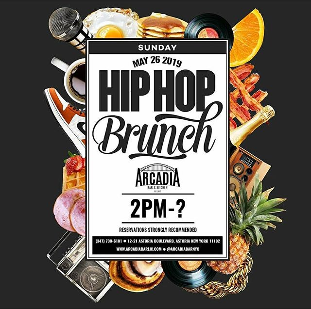 "🍳 ARCADIA HIP HOP BRUNCH 👉 Join us this SUNDAY, May 26th at 2pm 🎶 Playing the BEST of Rap, Hip Hop & Reggae 🎉 $20 UNLIMITED Brunch Cocktails for 1.5 hours till 5pm 🥂 Reservations Highly Recommended, please call (347) 730-6181 🚚: We DELIVER on @Grubhub: Click the ""Start Order"" button on our page (@arcadiabarnyc) • 🍽: Arcadia Bar & Kitchen #️⃣️: #ArcadiaBarandKitchen ☎️: (347) 730-6181 📍: Astoria, Queens 🌐: www.arcadiabarlic.com"