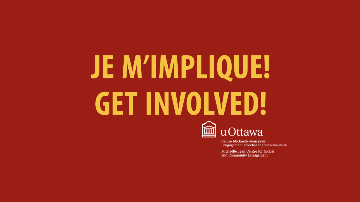 The Michaëlle Jean Centre for Global and Community Engagement aims to promote lifelong commitment to community engagement and social responsibility among all uOttawa Students. They are an on-campus one stop shop for information on volunteer opportunities in Ottawa and around the world.