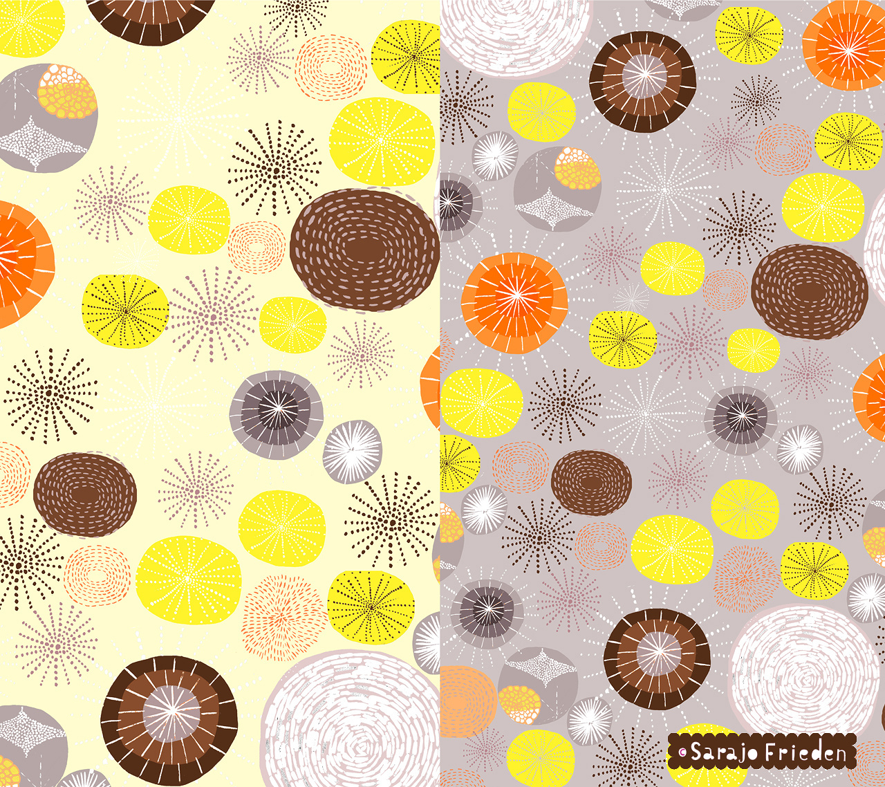infinity circles yellow grey
