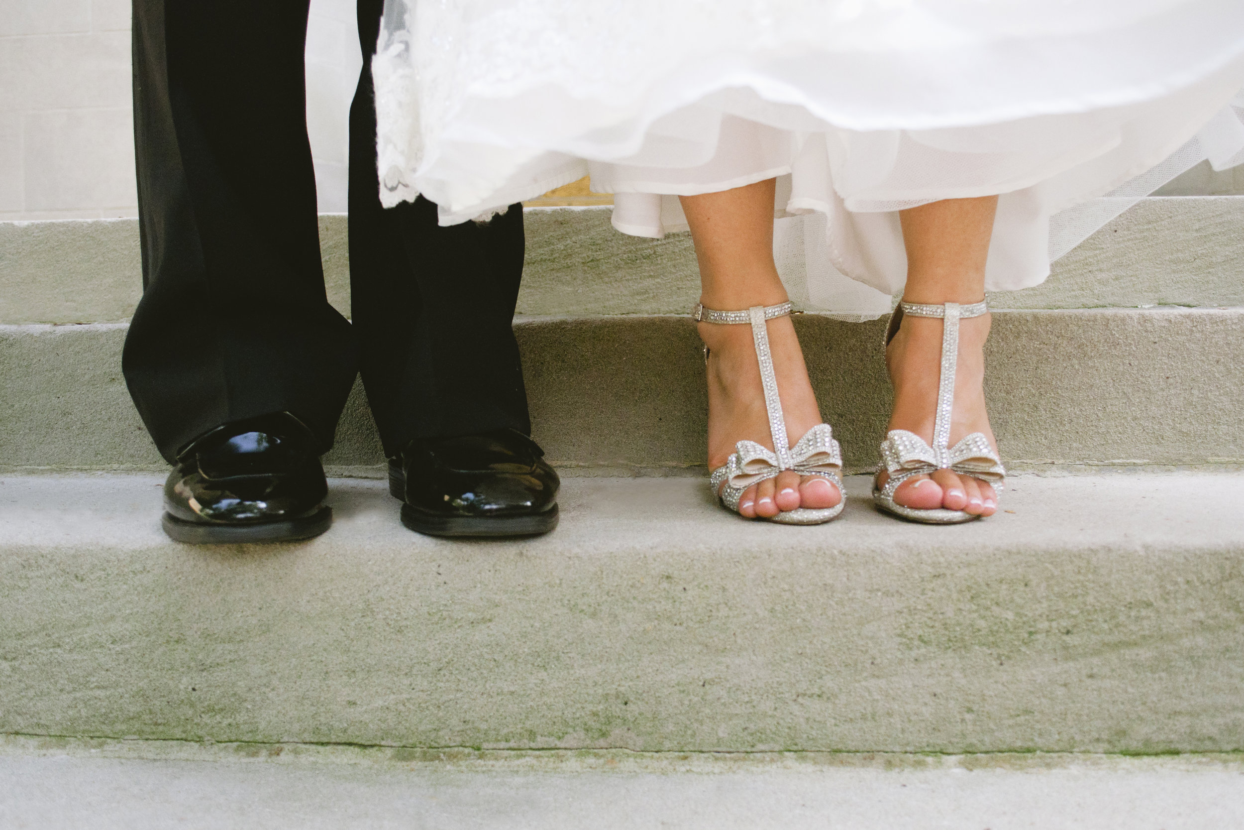 bride and groom's shoes, silver heels with bow