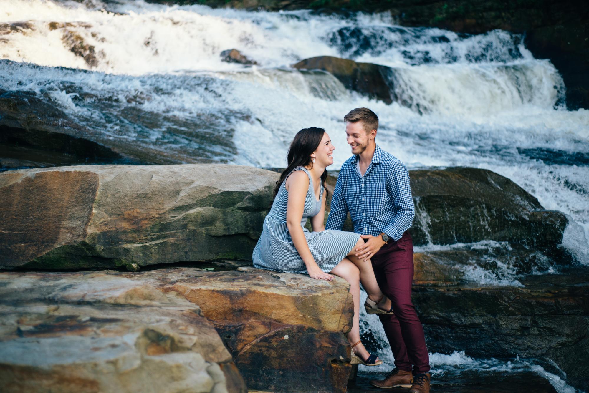 Waterfalls at sunset anniversary photos