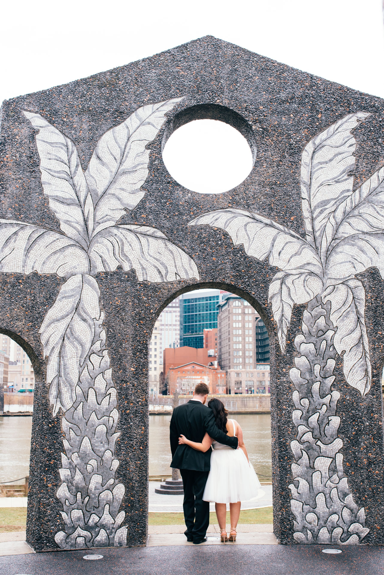 Yellow bridge wedding pictures in pittsburgh