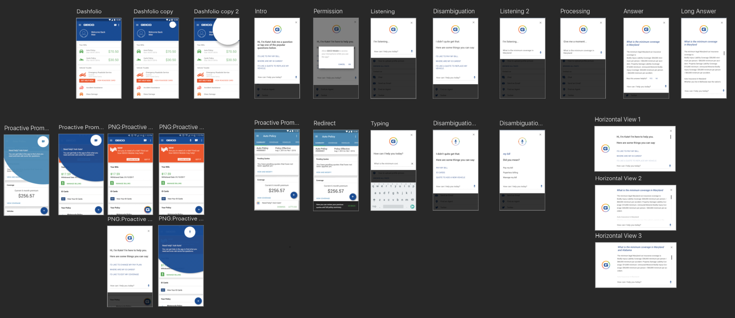 The full set of mockups, including some options around the feature discovery component.