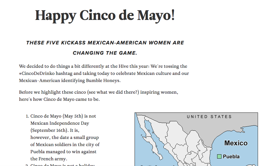 "Sample of writing for Bumble's campaign to ""reclaim"" of Cinco de Mayo."