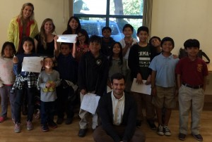 PIA Members Leah Lessard, Jenna Cummings, Irene Tung, and Nicco Reggente with the kids from Project Literacy.