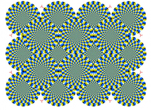 A visual illusion favorite: How can a still image move?