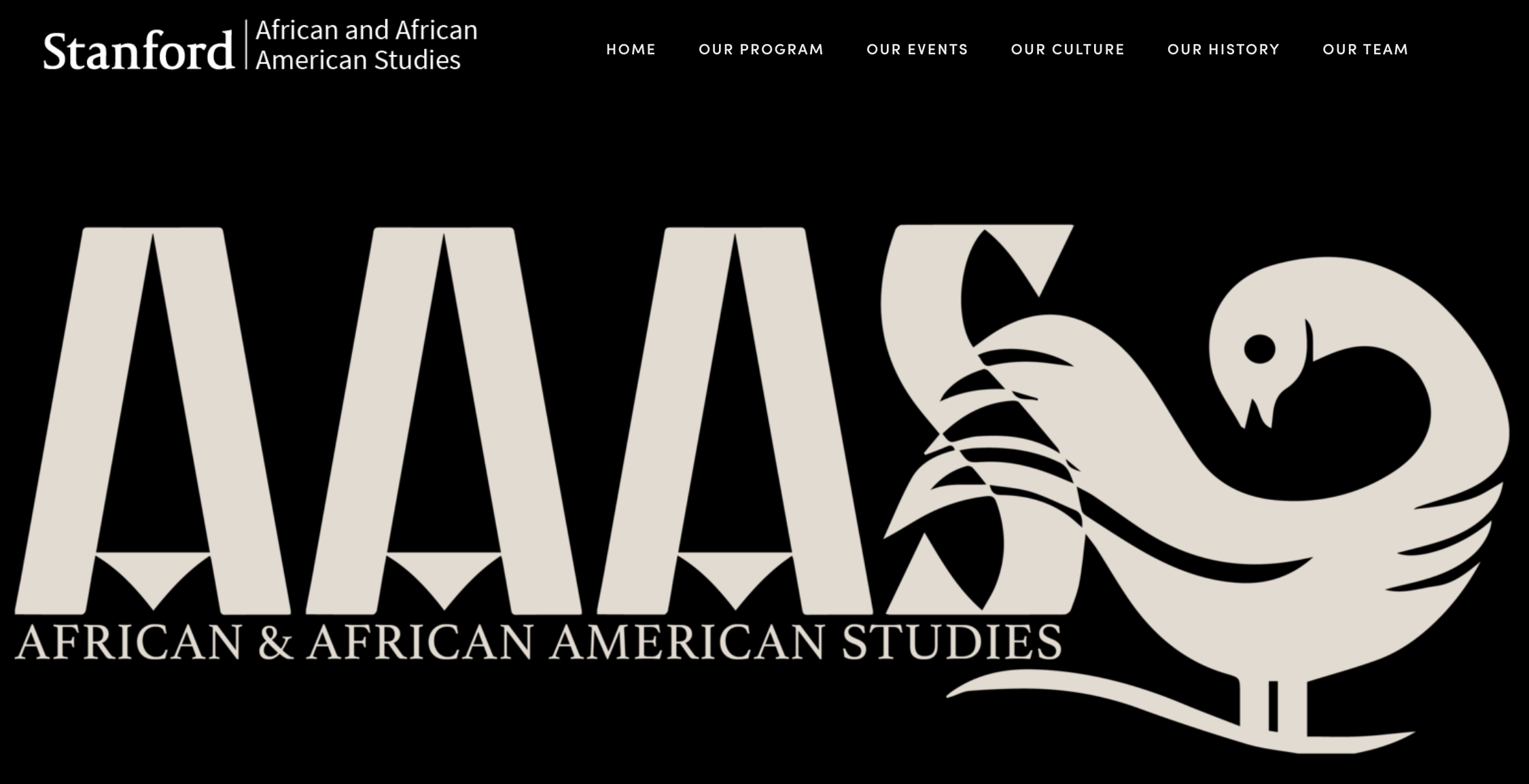 Sankofa symbol, represented by the Sankofa bird facing forward, while looking backwards. Source: Stanford University (2019). African & African American Studies Program homepage [web image]. Retrieved from https://aaas.stanford.edu/.