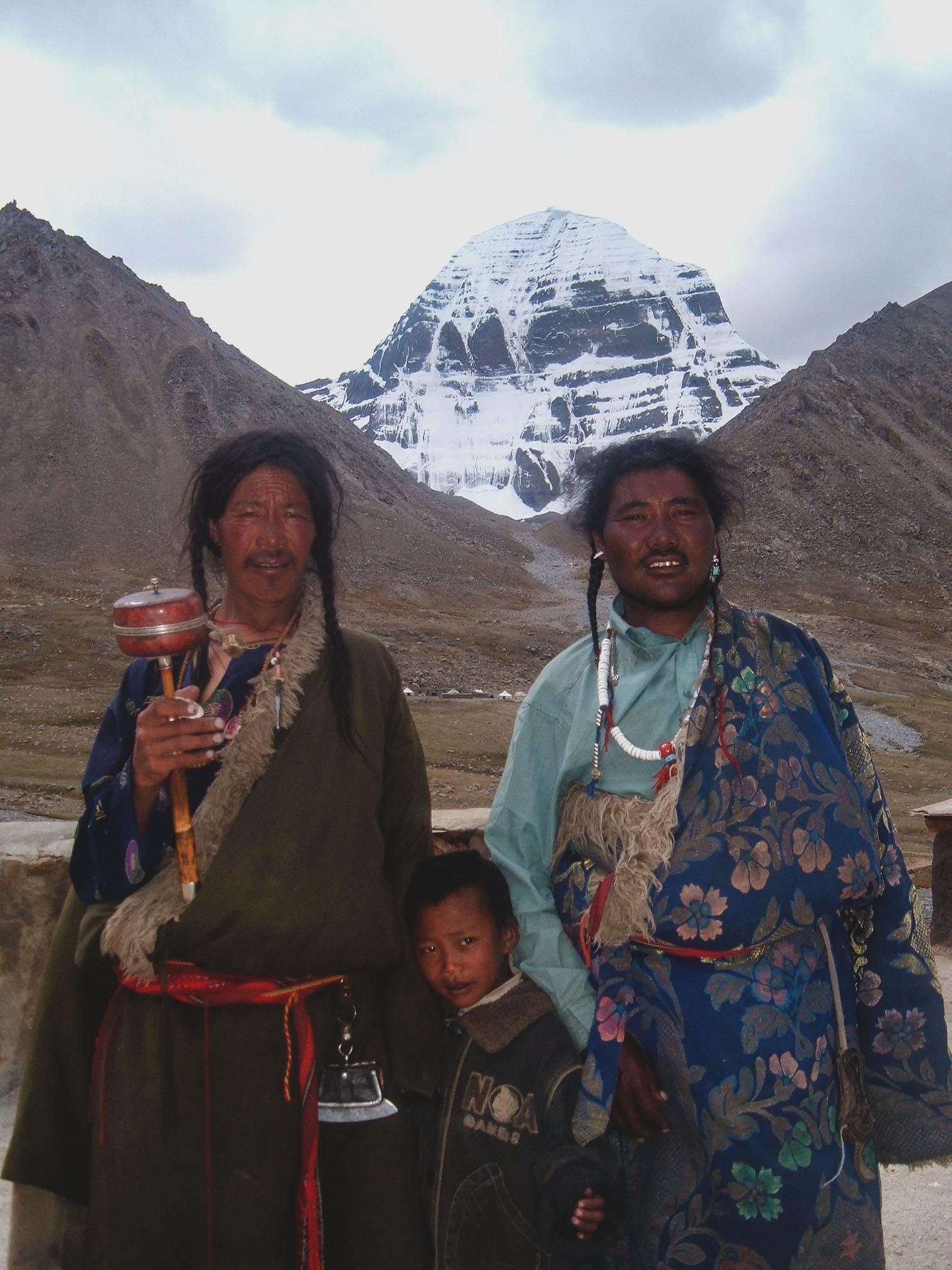 Tibetan Men & Child at Mt. Kailash