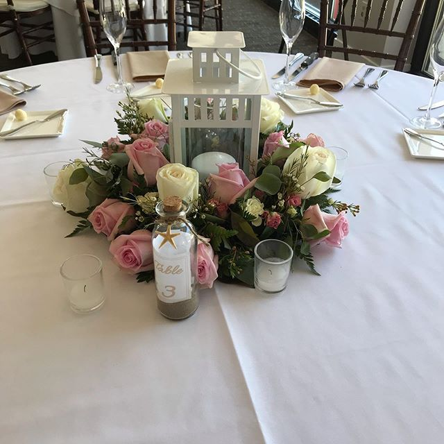 Beautiful day for a beautiful wedding,  congratulations to Matthew & Shannon.  #weddingseason2019 #receptionflowers #lanternarrangement #instaweddingideas