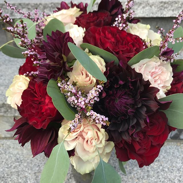 A beautiful wedding day in Cape Cod.  Congratulations to our newlyweds. #weddingseason2019 #fallweddingflowers #capecodwedding #bouquet #centerpiecesticks