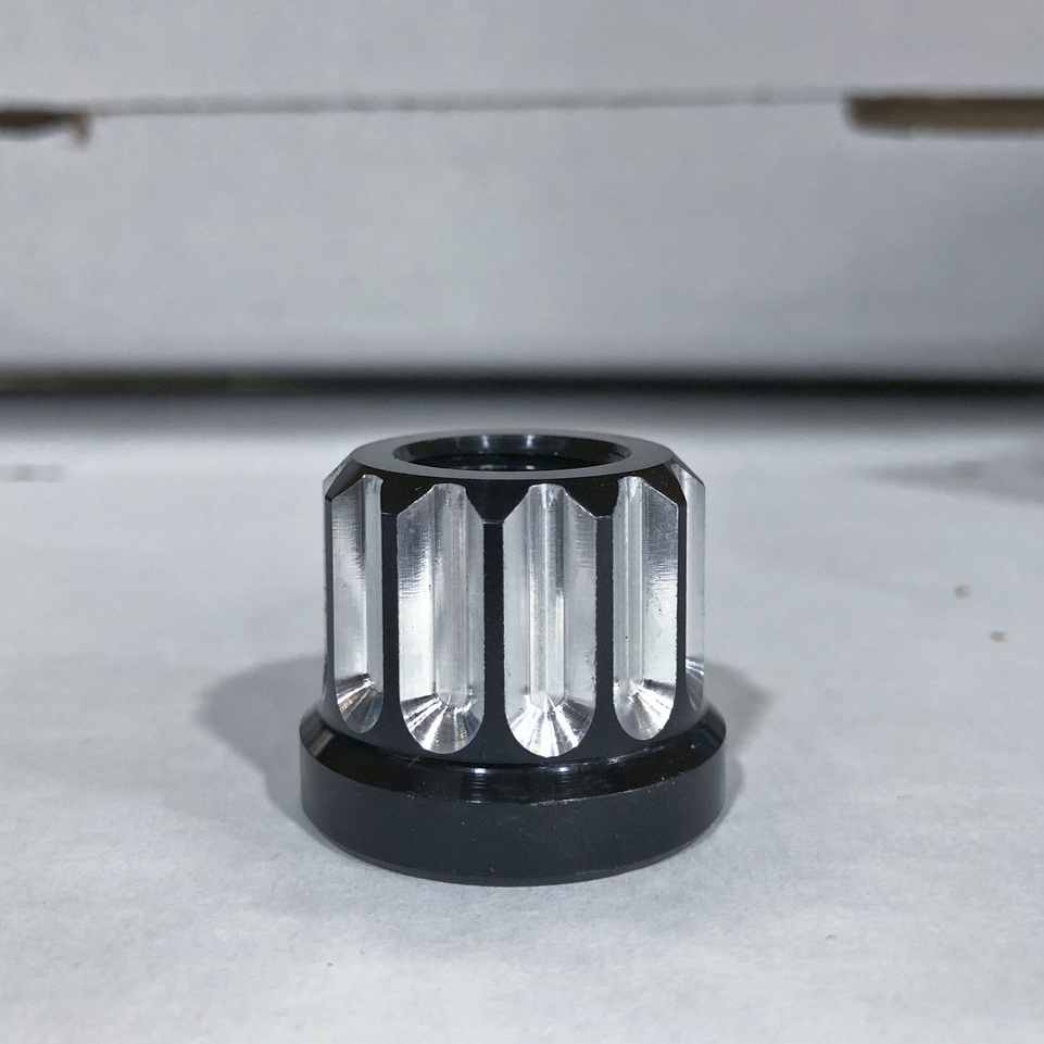 """5/8"""" Flat Bottom, Black Anodized with a Machined Contrast Cut"""