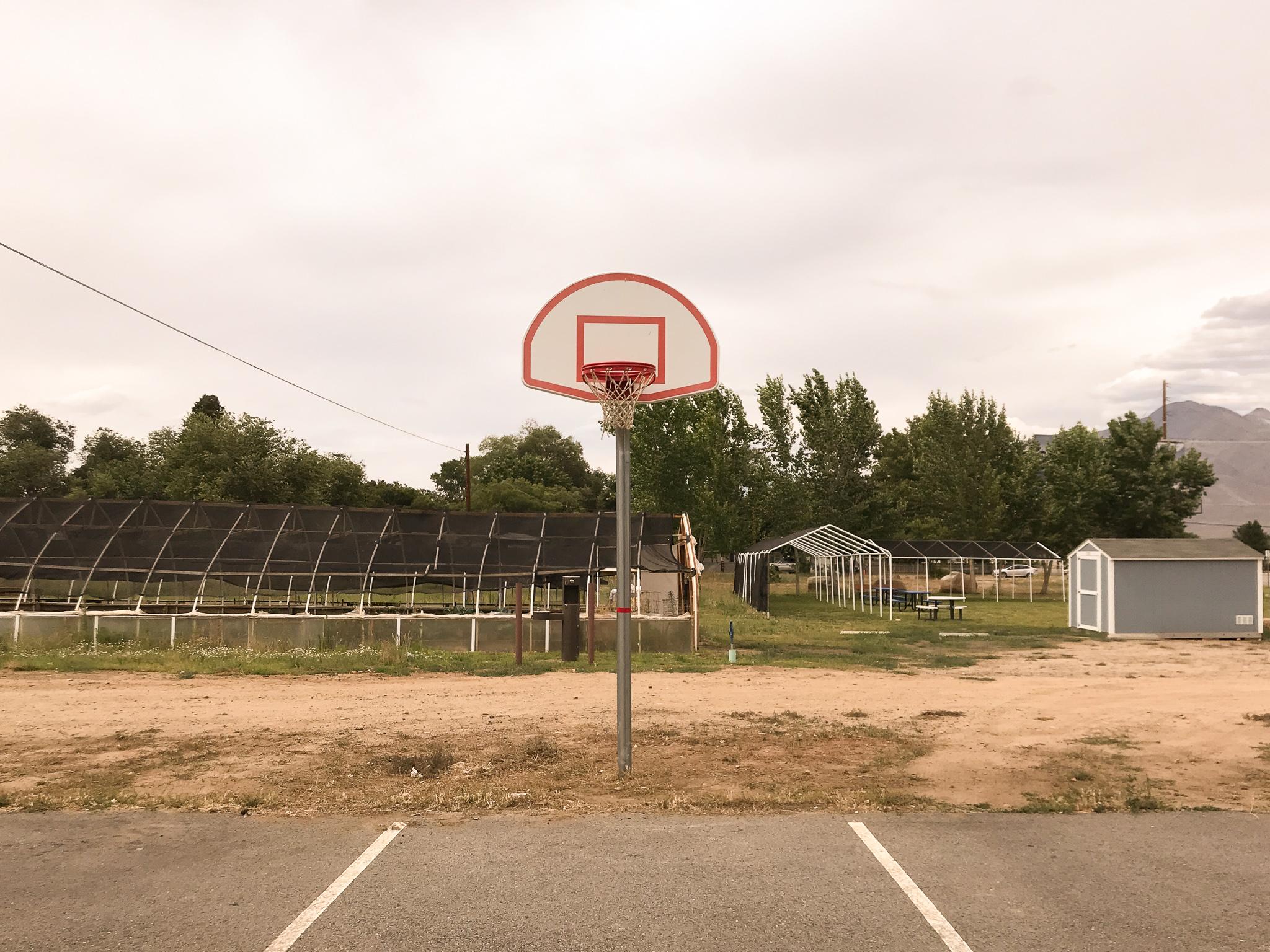 Parking lot basketball court