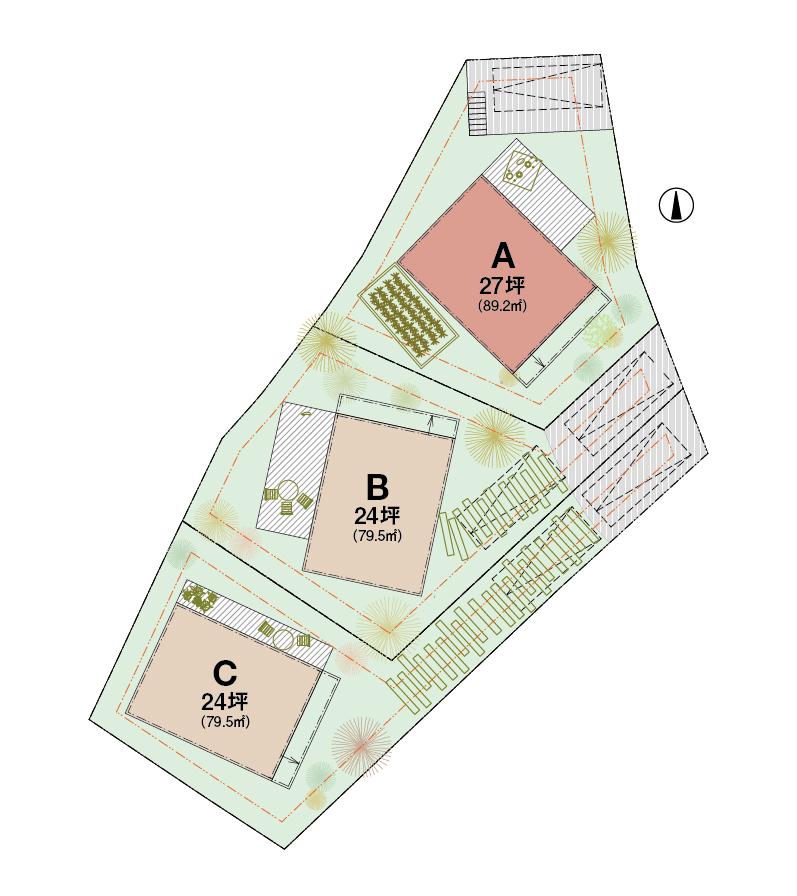 敷地は仕切らずに3棟のスケルトンハウスが並ぶ、開放的なスケルトンヴィレッジに。「LiVESの家」は北側。