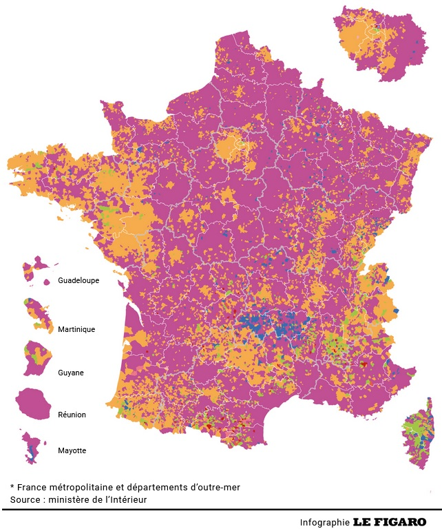 Figure 3 - the results by commune from Le Figaro - don't you just love GIS electoral mapping software?