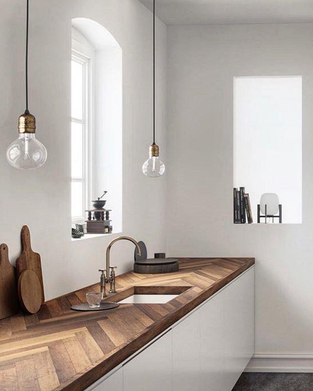 Herringbone bench beauty via @homeadore #stylefile #dreamkitchen #minimalism