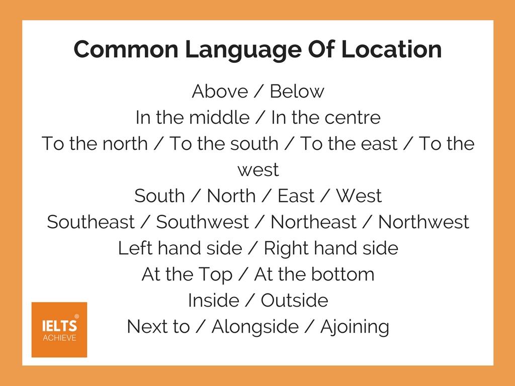 IELTS common language of location