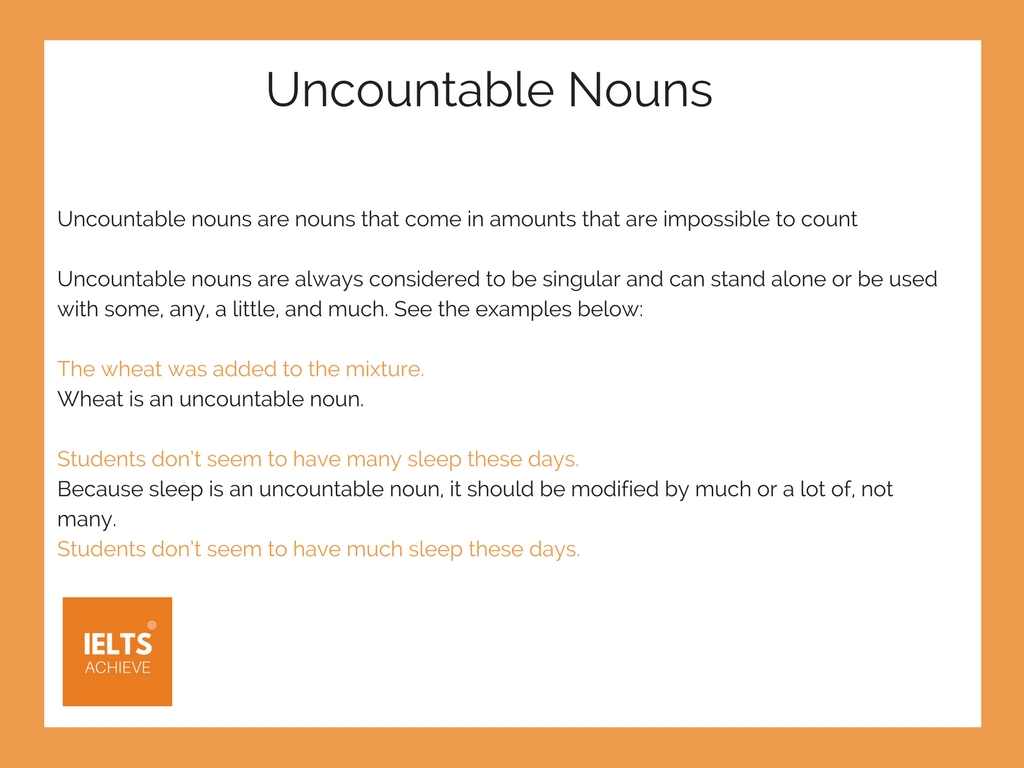 English grammar uncountable nouns