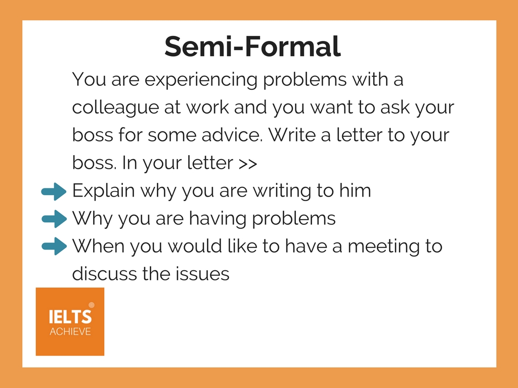 IELTS General Training semi-formal writing style