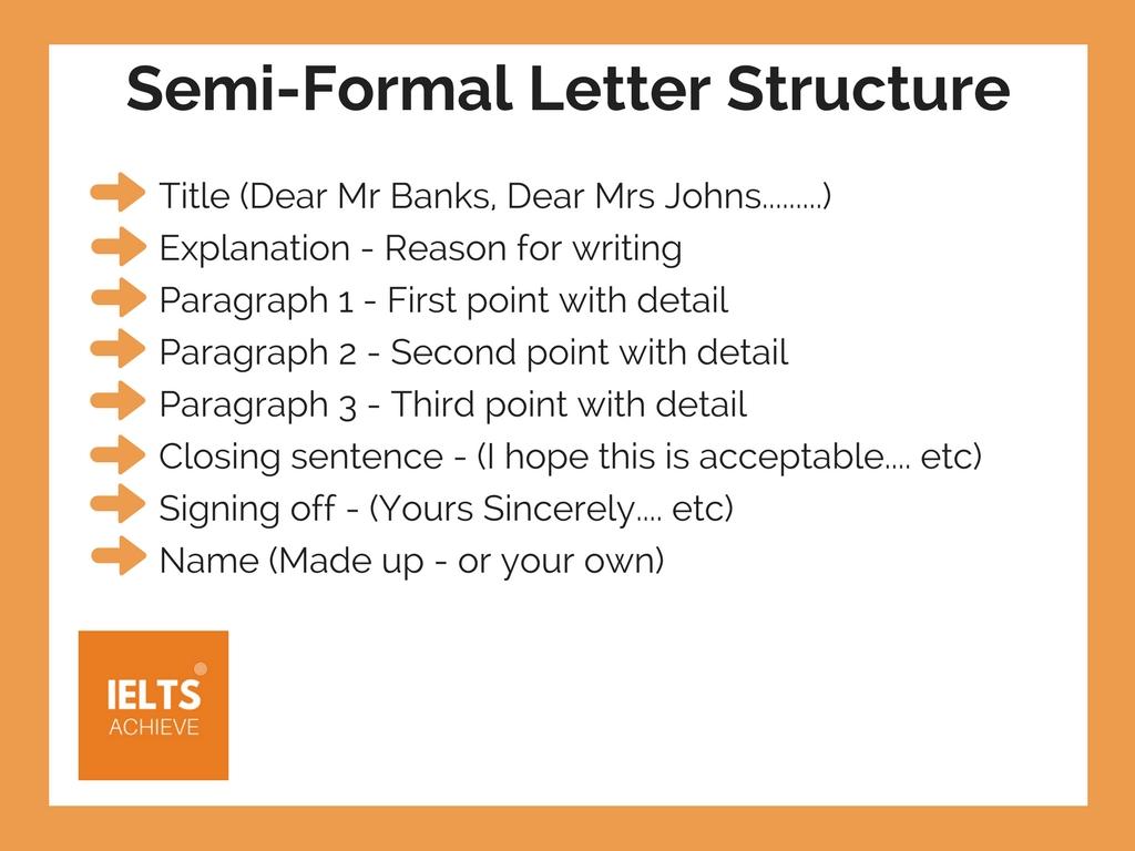 IELTS semi-formal letter structure